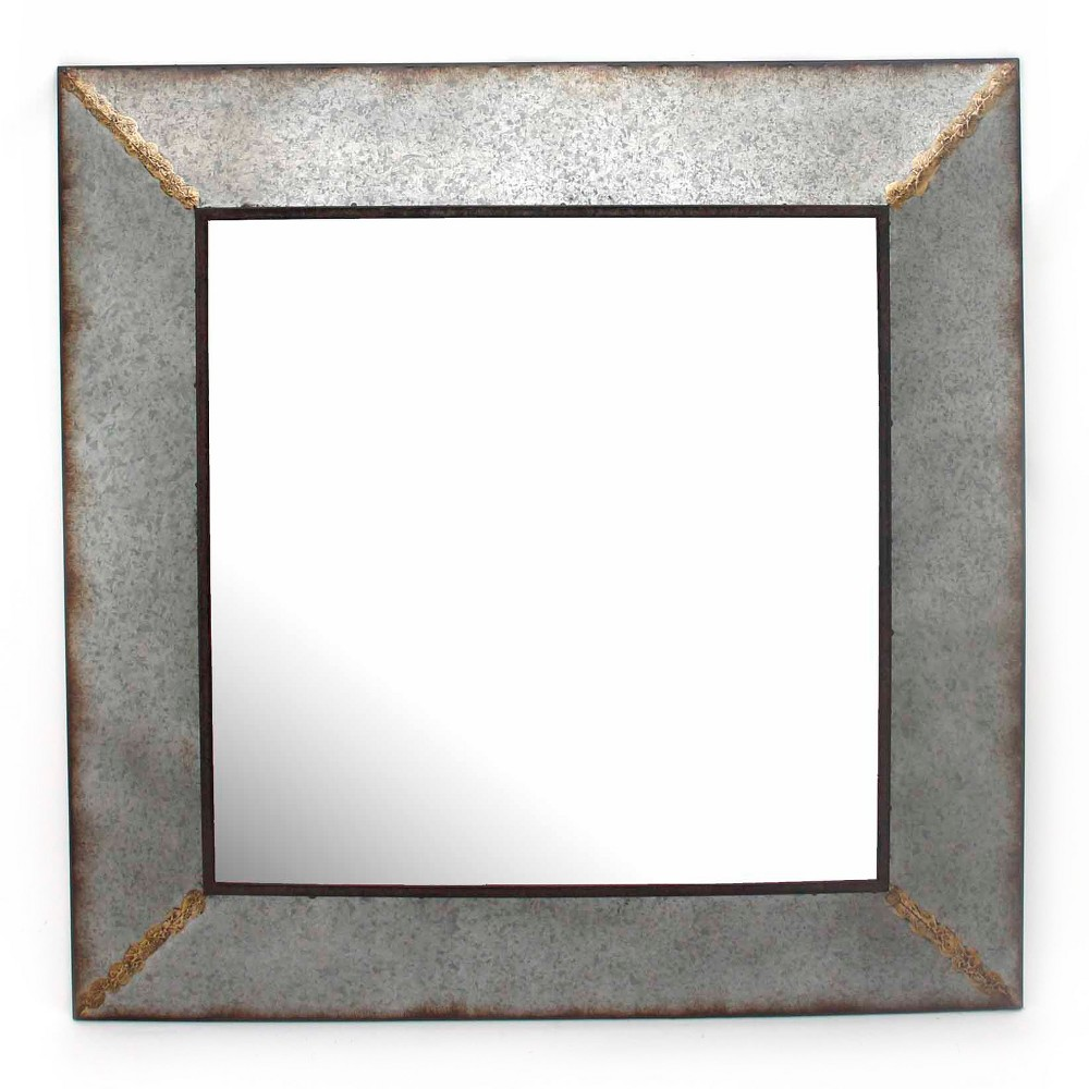 "Image of ""31.5""""x31.5"""" Square Decorative Wall Mirror Iron Gray - Home Source"""