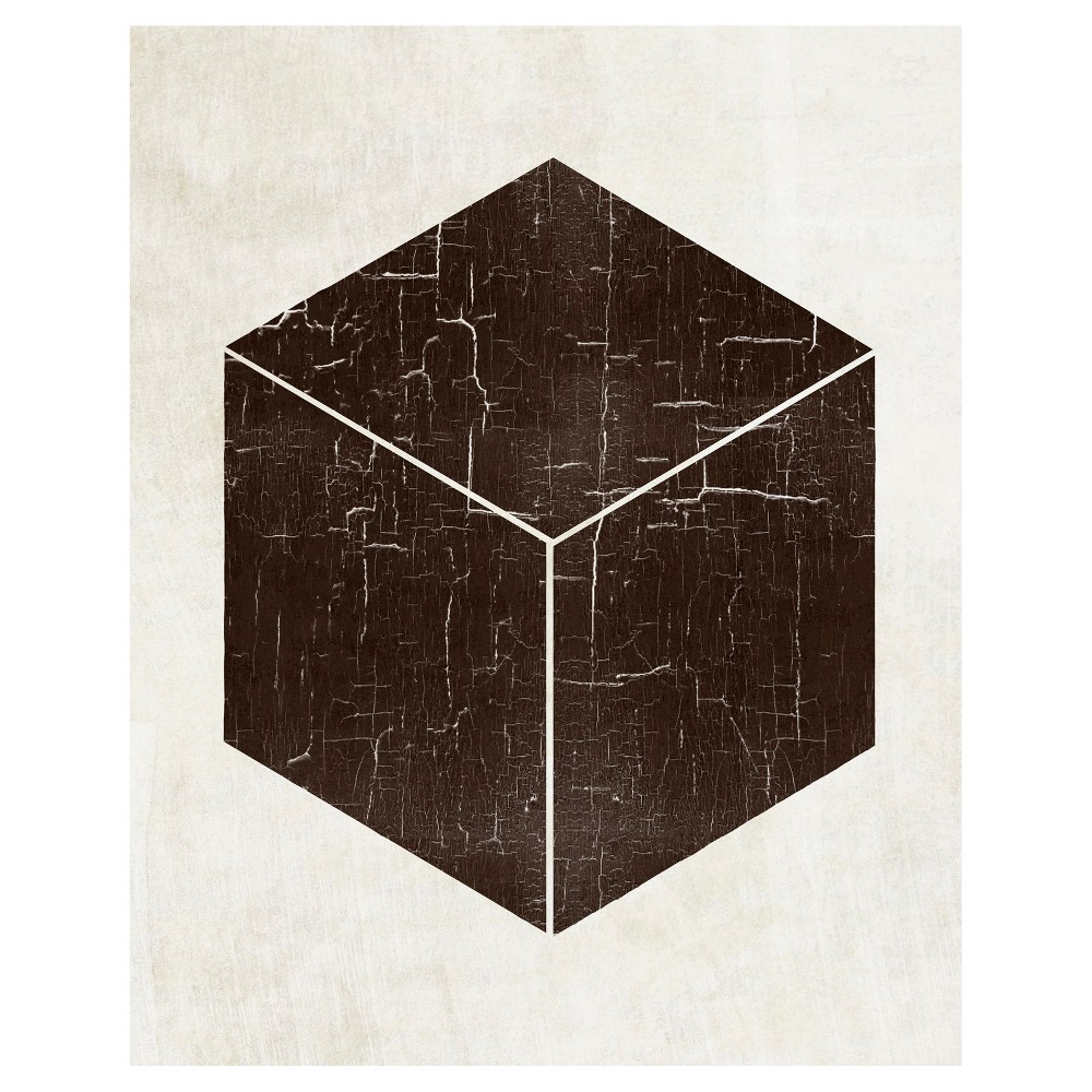 Image of Bold Shapes Cube Unframed Wall Canvas Art - (20X24)