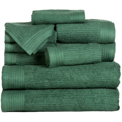 Solid Bath Towels And Washcloths 10pc Green - Yorkshire Home