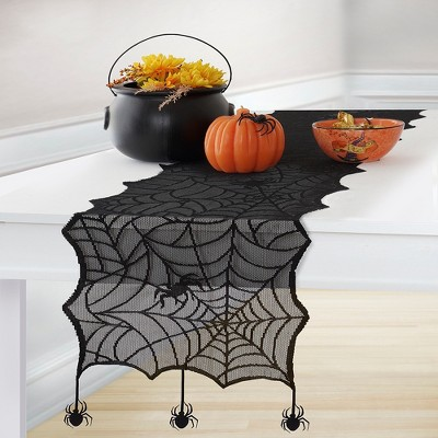 """Crawling Halloween Spider Lace Table Runner - 13"""" x 70"""" - Black - Elrene Home Fashions"""