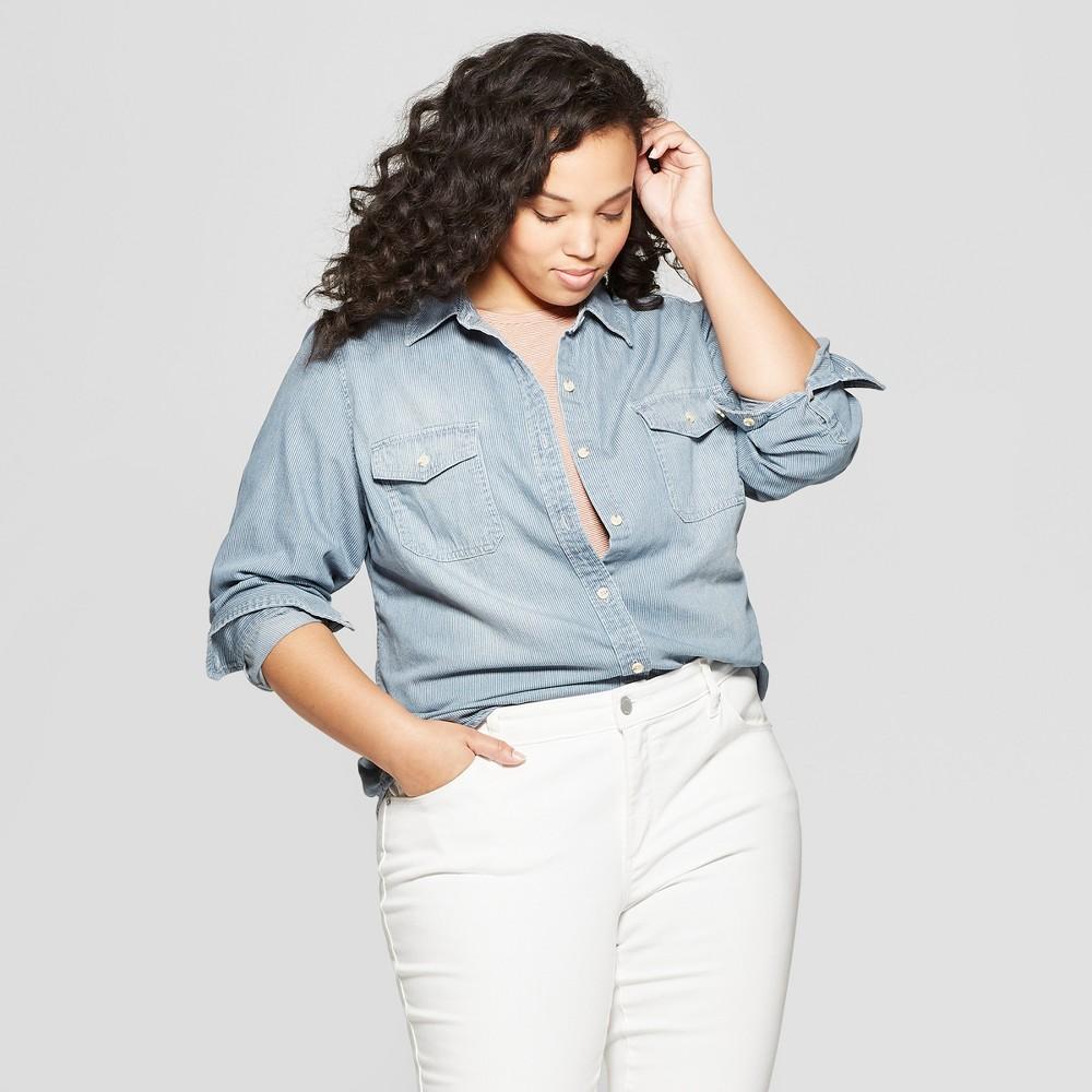 Women's Plus Size Striped Long Sleeve Collared Denim Shirt - Universal Thread Light Blue 2X