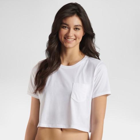 JKY® By Jockey Women s Retro Vibes Cropped T-shirt - White XL   Target b3be3eb78b