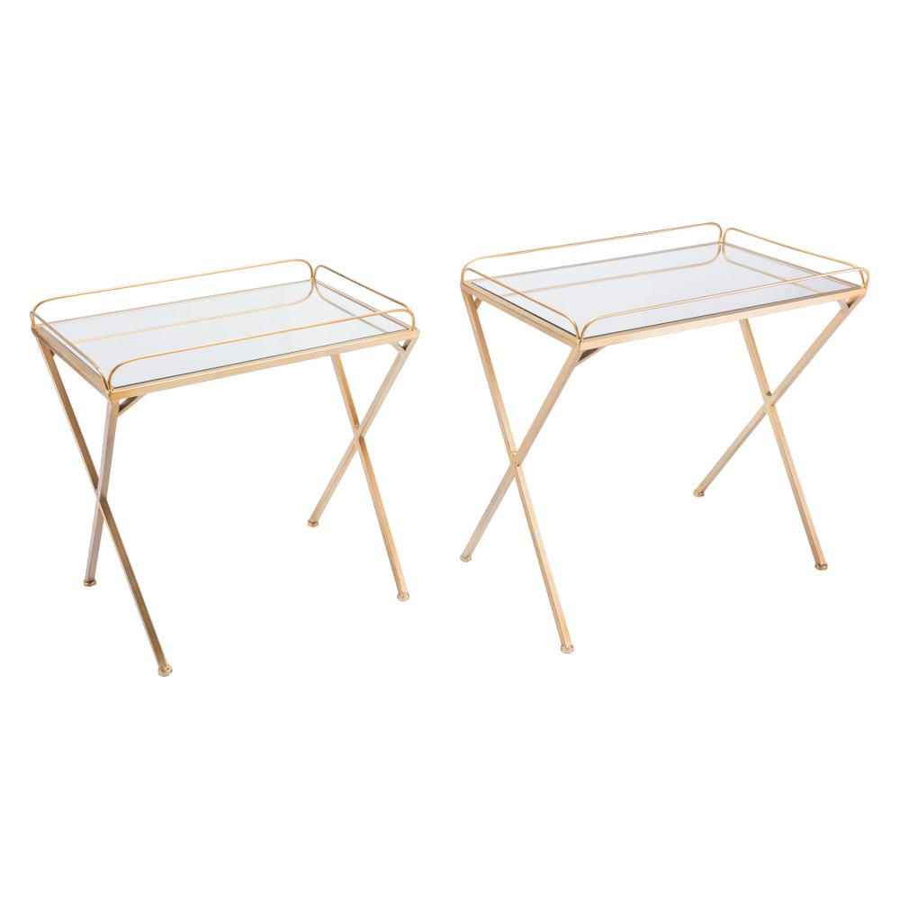 Luxe Mirror and Steel Rectangular Tray Tables (set of 2) - Gold - ZM Home