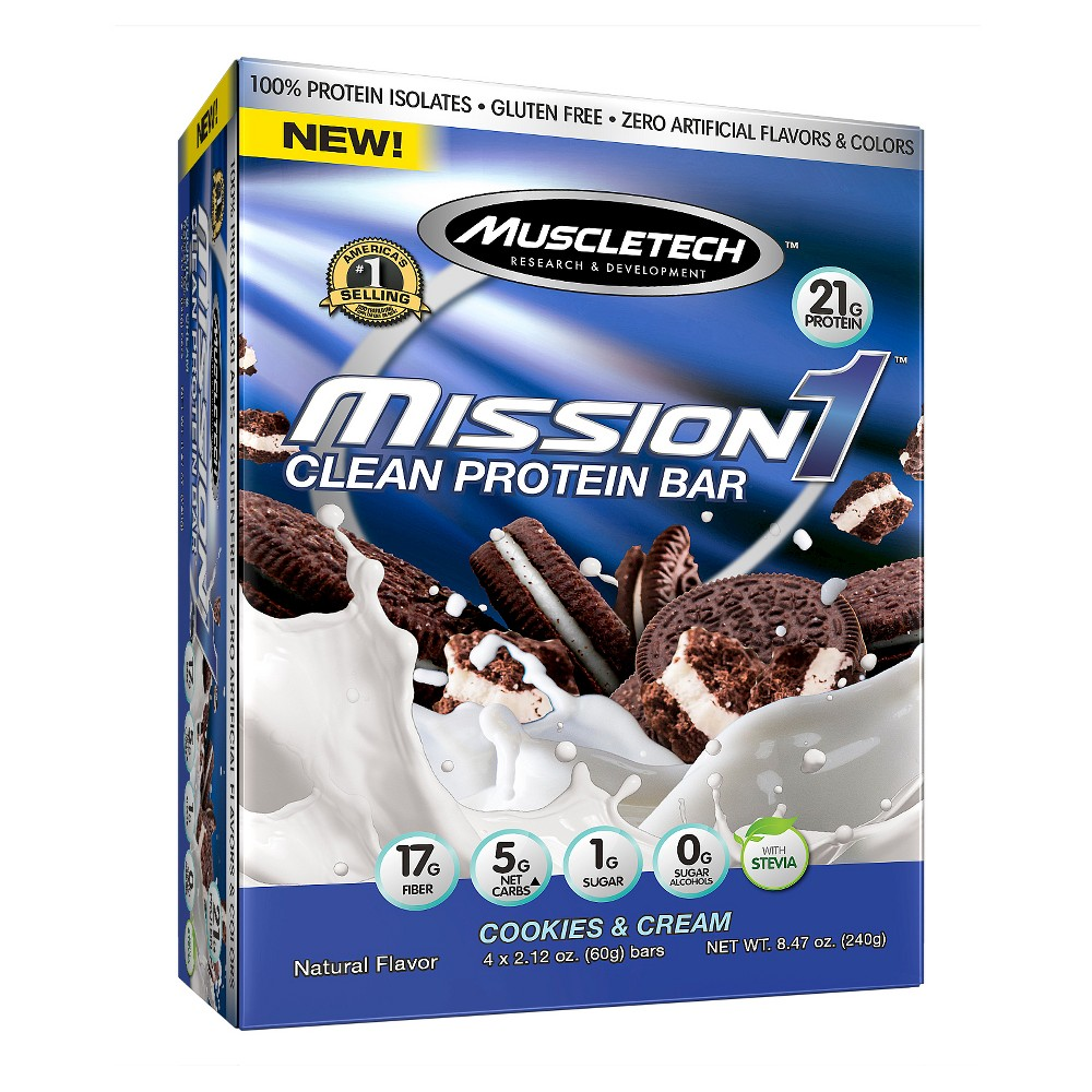 MuscleTech Mission1 Protein Bar - Cookies & Cream - 4ct