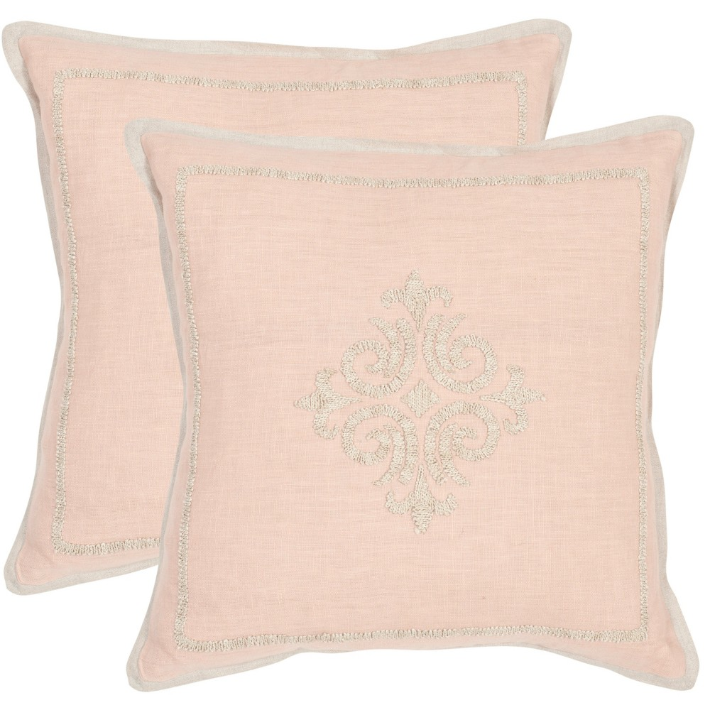 Image of Set of 2 Fiesole Petal Square Throw Pillow Pink - Safavieh