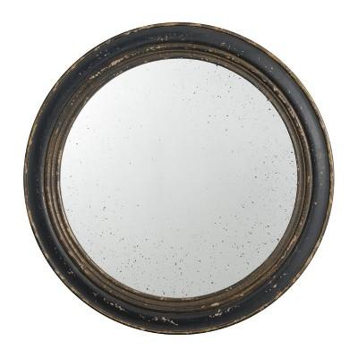 "23.5"" Round Mirror Distressed Antique Black - A&B Home"