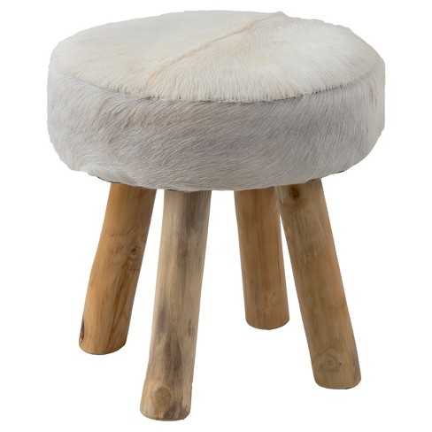 Morton Round Natural Hide Stool - White - East At Main - image 1 of 5