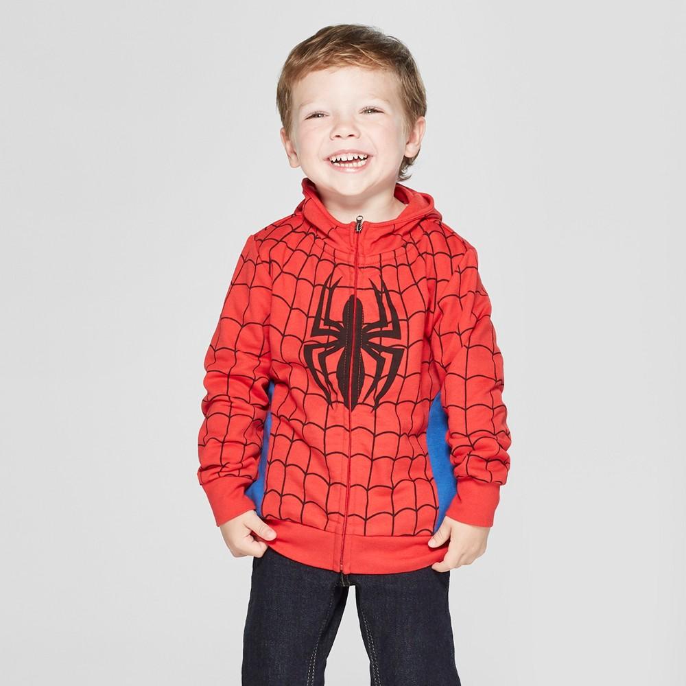 Toddler Boys' Marvel Spider-Man Hooded Sweatshirt - Red 4T