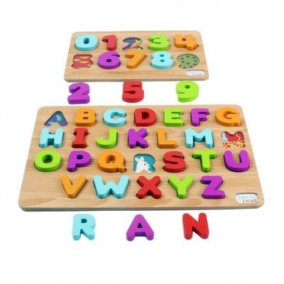 Chuckle & Roar ABC's & 123s Wood Puzzles 36pc