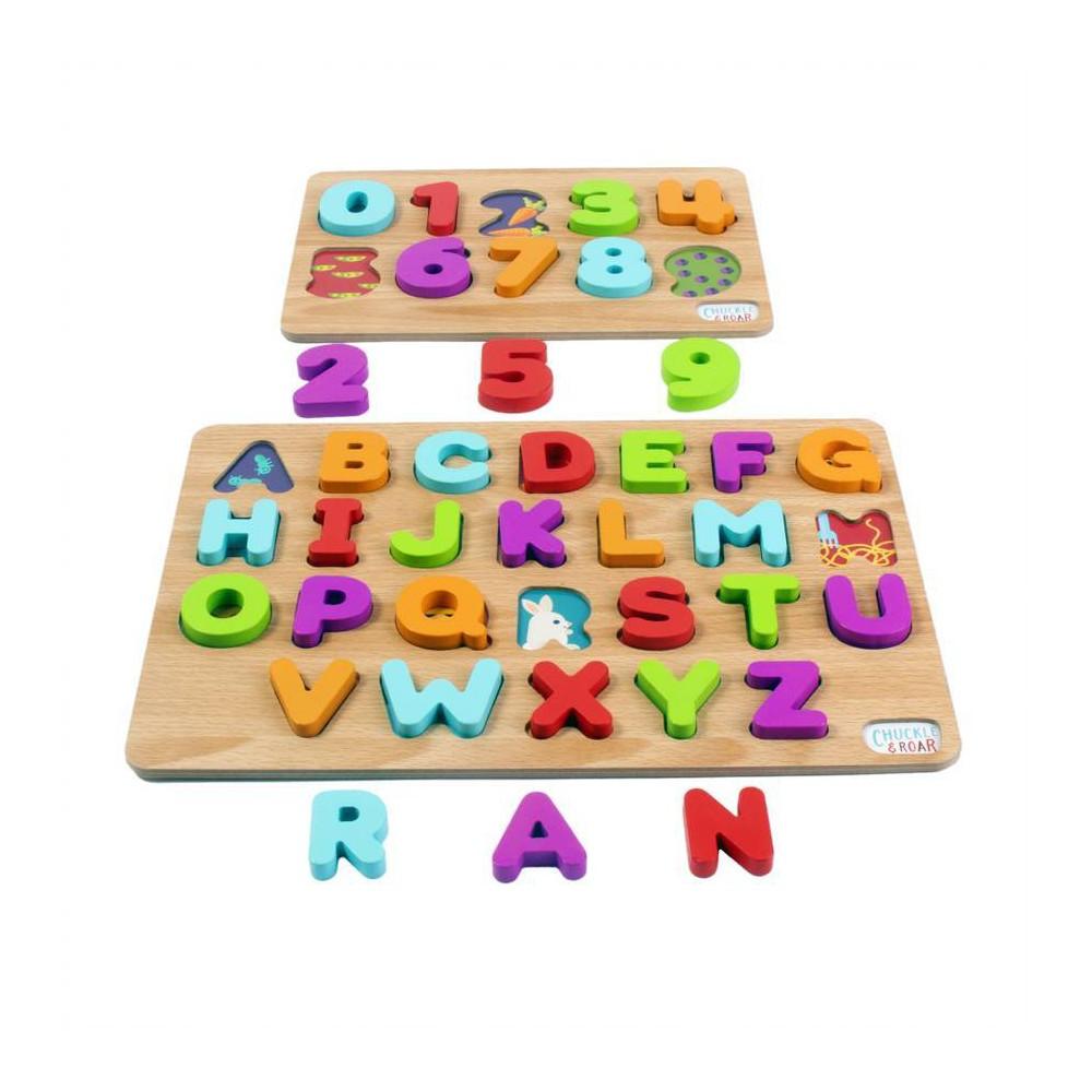 Chuckle 38 Roar 2pk Wood Puzzles 8211 Abc 39 S 38 123s 8211 36pc