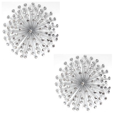 Stratton Home Decor SHD0192 Silver Acrylic Burst 24x24x5 Inch Metal Wall Art Room Decoration for Bedroom, Bathroom, Living Room, or Kitchen (2 Pack)
