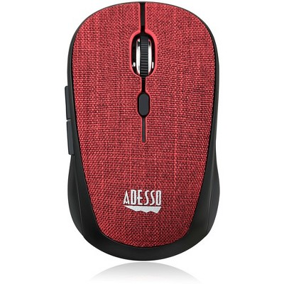 Adesso iMouse S80R - Wireless Fabric Optical Mini Mouse (Red) - Optical - Wireless - Radio Frequency - Red - USB - 1600 dpi - Scroll Wheel