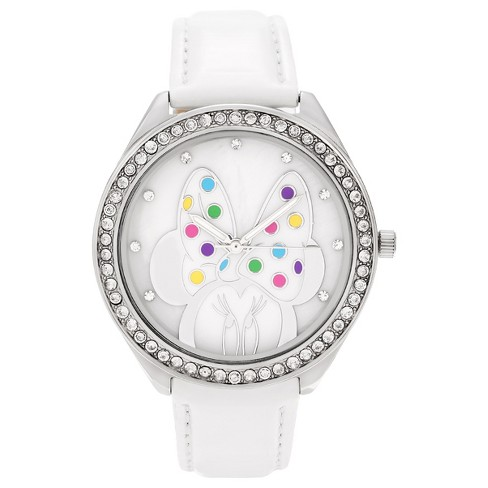 Women's Disney Minnie Mouse Dial Rhinestone Leather Strap Watch - White - image 1 of 3