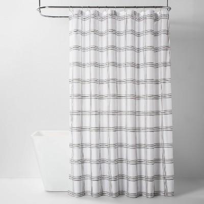 Microfiber Neutral Grid Shower Curtain - Room Essentials™