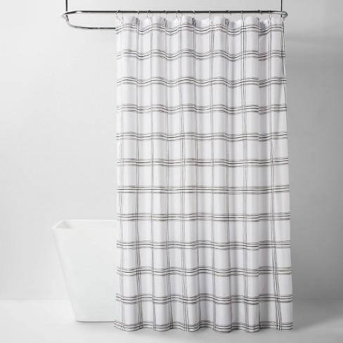 Microfiber Neutral Grid Shower Curtain - Room Essentials™ - image 1 of 2