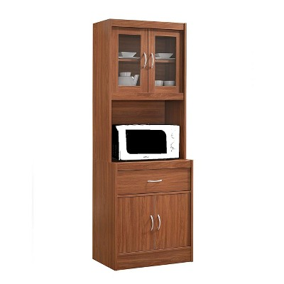 Hodedah Import Standing 70 Inch Tall Top and Bottom Shelf Enclosed Kitchen China Cabinet with Drawer, Cherry