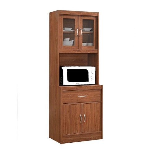 Hodedah Import Standing 70 Inch Tall Top And Bottom Shelf Enclosed Kitchen China Cabinet With Drawer Cherry Target