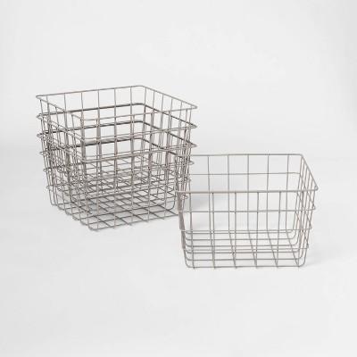 """1/2 11"""" 4pk Wire Basket Gray - Room Essentials™"""