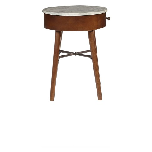 Hayden Mid Century Side Table With Drawer Walnut Brown Powell Company