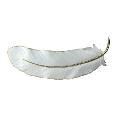 "Roman 22"" White and Gold Gilded Feather Shaped Christmas Wall Decor"
