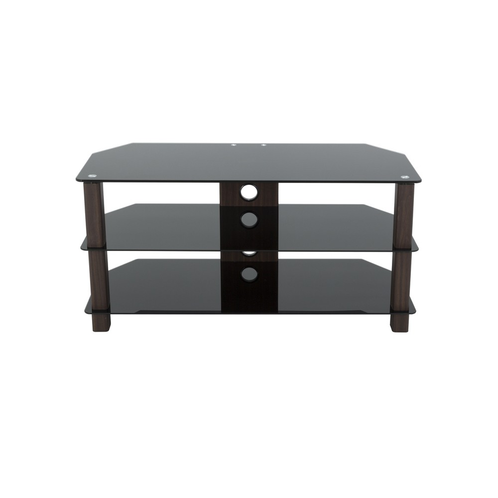 """Image of """"50"""""""" TV Stand with Glass Shelves - Walnut/Black, Brown"""""""