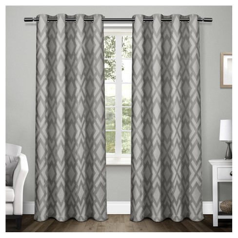 Easton Heavyweight Geometric Jacquard Linen With Woven Blackout Liner Grommet Top Window Curtain Panel Pair Exclusive Home