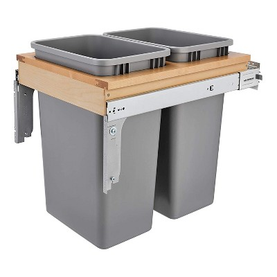 "Rev-A-Shelf 4WCTM-2150BBSCDM-2 Double 50-Qt Top Mount Pullout Waste Trash Container Bin w/ Soft-Close slides for 1.5"" Faceframe Cabinet, Silver"