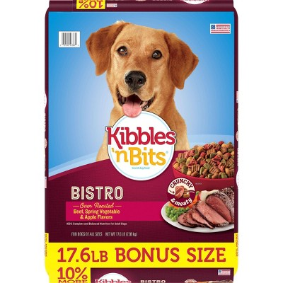 Kibbles 'n Bits Bistro Beef, Spring Vegetable & Apple Flavors Adult Complete & Balanced Dry Dog Food - 17.6lbs