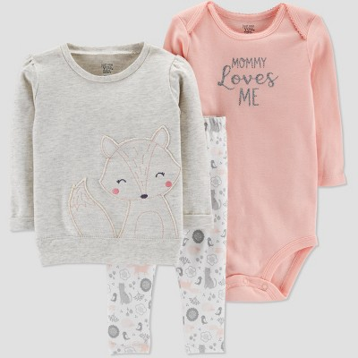 Baby Girls' Fox 3pc Set - Just One You® made by carter's Gray 6M