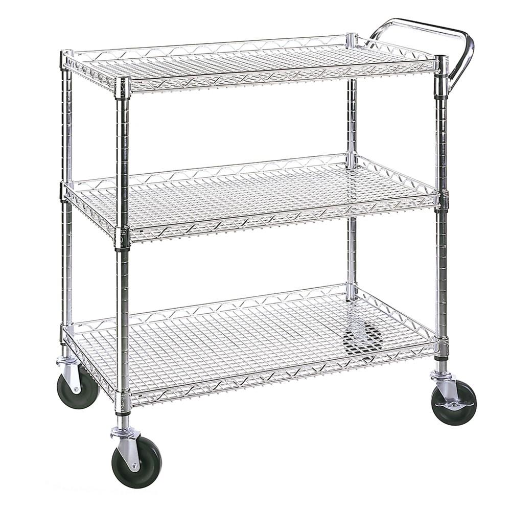 Commercial utility storage carts 3-Shelf UltraZinc, Silver