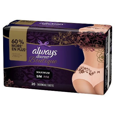Always Discreet Boutique Incontinence Underwear for Women - Maximum Absorbency - Small/Medium - 20ct