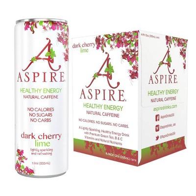 Aspire Dark Cherry Lime Energy Drink - 4pk/12 fl oz Cans