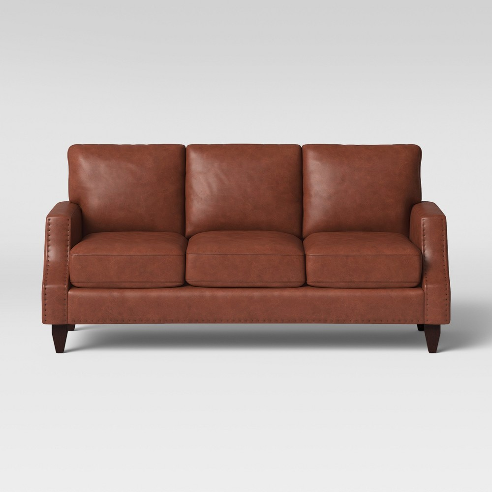 78 Claymont Sofa with 3 Cushions Camel Brown - Project 62