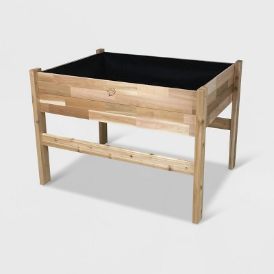 """34"""" High Elevated Rectangular Garden Bed Planter With Fitted Liner Cedar - GRO Products"""