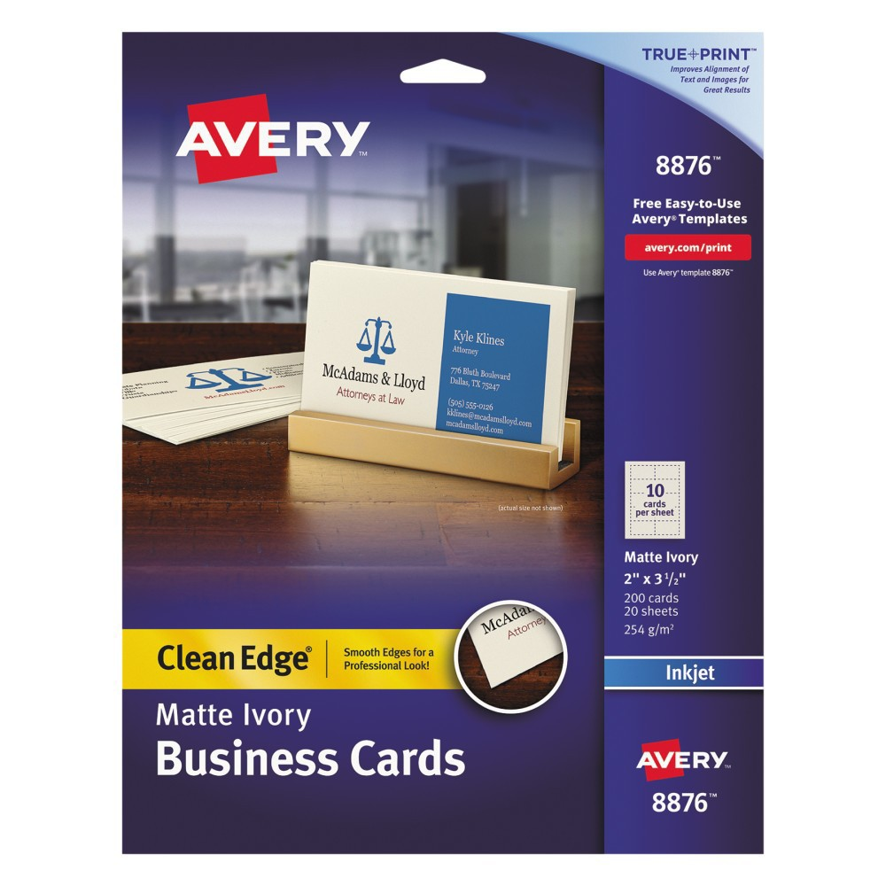 Avery Inkjet Two-Sided Printable Clean Edge Business Cards - Ivory (200 Pack), Ivry