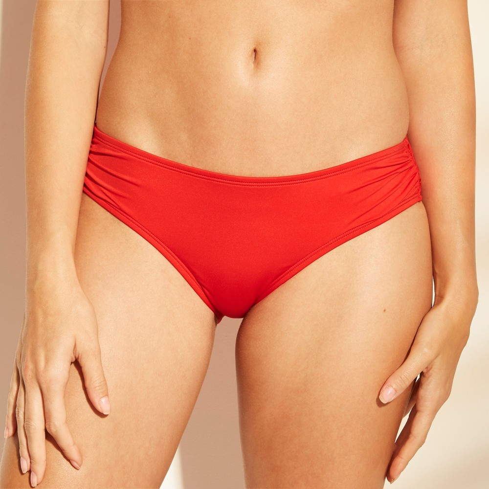 Women's Shirred Side Hipster Bikini Bottom - Shade & Shore Red M