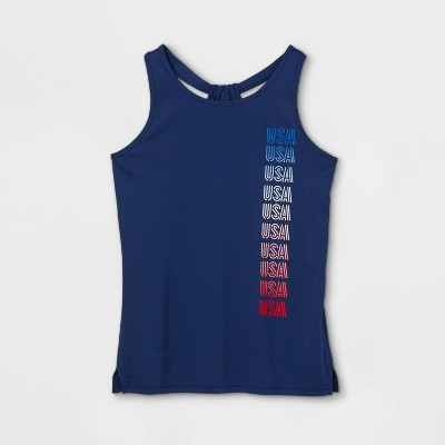 Girls' 'USA' Graphic Tank Top - All in Motion™ Sapphire