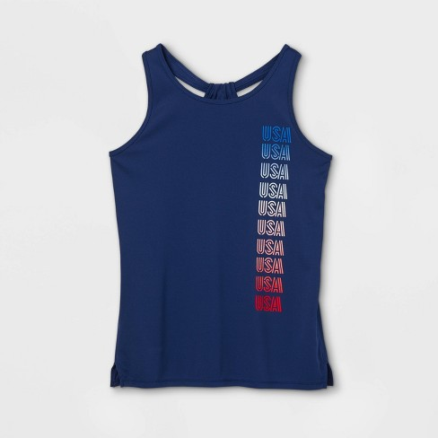 Girls' 'USA' Graphic Tank Top - All in Motion™ Sapphire - image 1 of 2