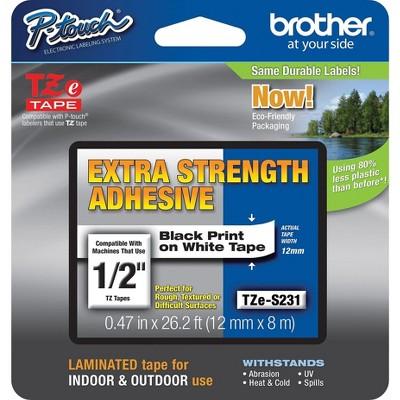 "Brother TZ-ES231CS Label Maker Tape 0.47""W Black On White 917893"