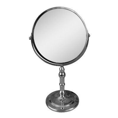 "Katherine Freestanding Bath Magnifying Makeup Mirror Light Silver 13"" - Elegant Home Fashions"