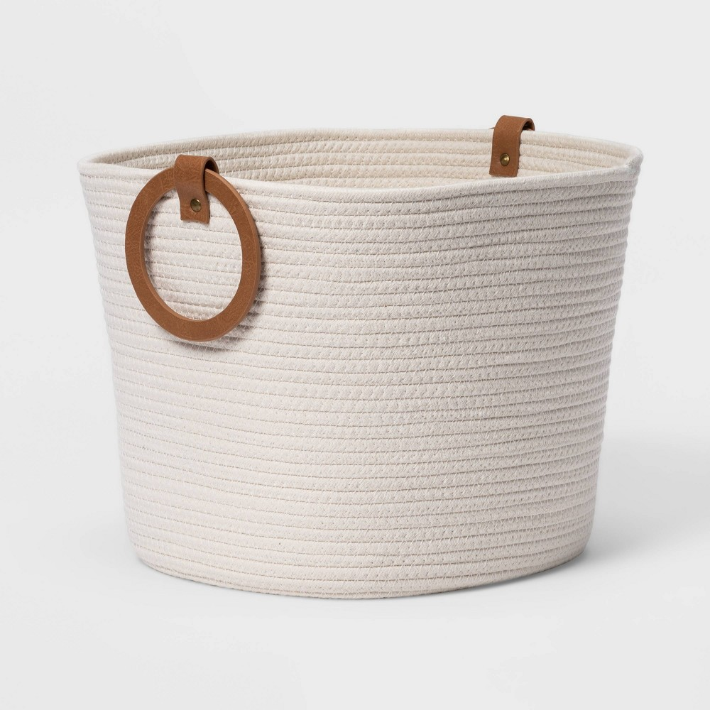 Coiled Rope With Round Handles White Threshold 8482