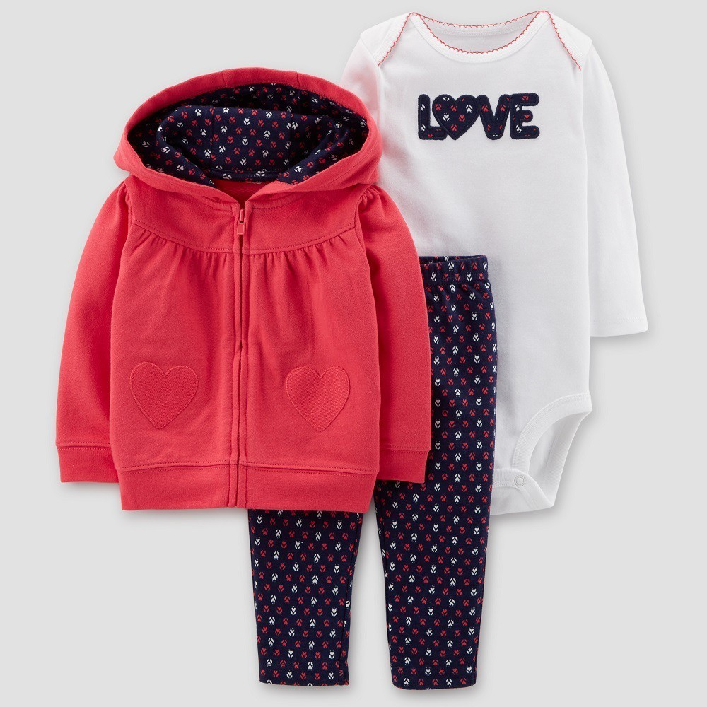 Baby Girls' Hearts 3pc Set - Just One You made by carter's Red/Navy Newborn
