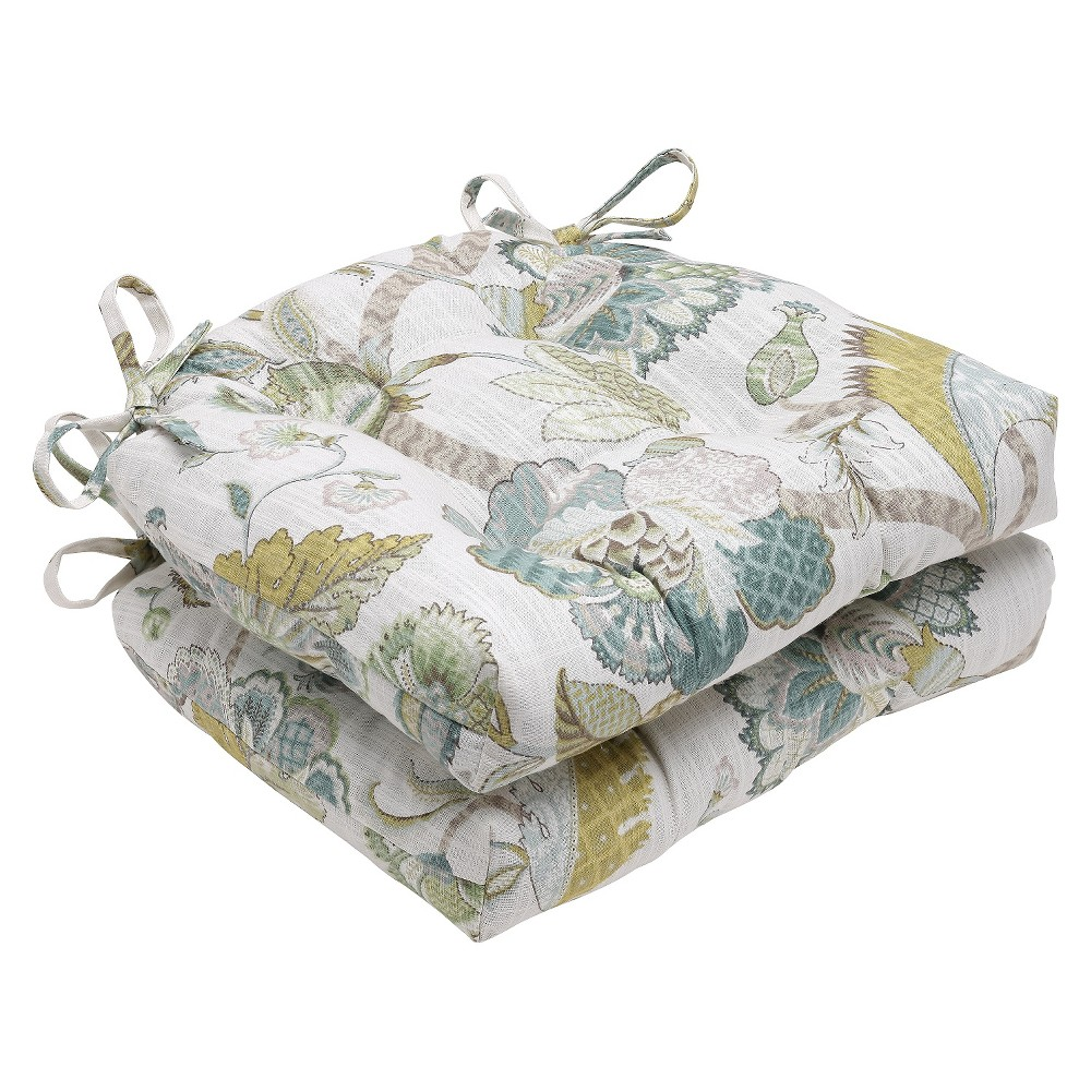 """Image of """"Blue Finders Keepers Peacock Reversible Chair Pad (Set Of 2) (16""""""""X15.5"""""""") - Pillow Perfect"""""""