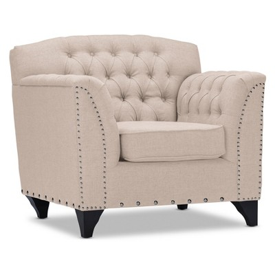 Mckenzie French Country Style Retro Modern Linen Tufted Fabric Upholstered  Armchair   Baxton Studio