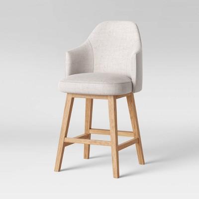 Kinston Swivel Curved Back Upholstered Counter Height Barstool - Threshold™