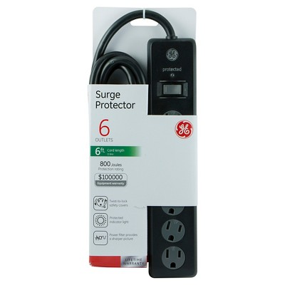 GE 6 Outlet Surge Protector, 800 Joules 6ft. Cord - Black