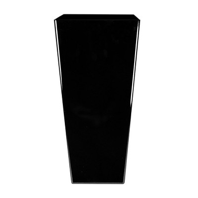 The HC Companies Cascade 15 Inch Square 32 Inch Tall Self Watering Indoor/Outdoor Decorative Flower Planter Pot with Soil Saving Pot Liner, Black Onyx