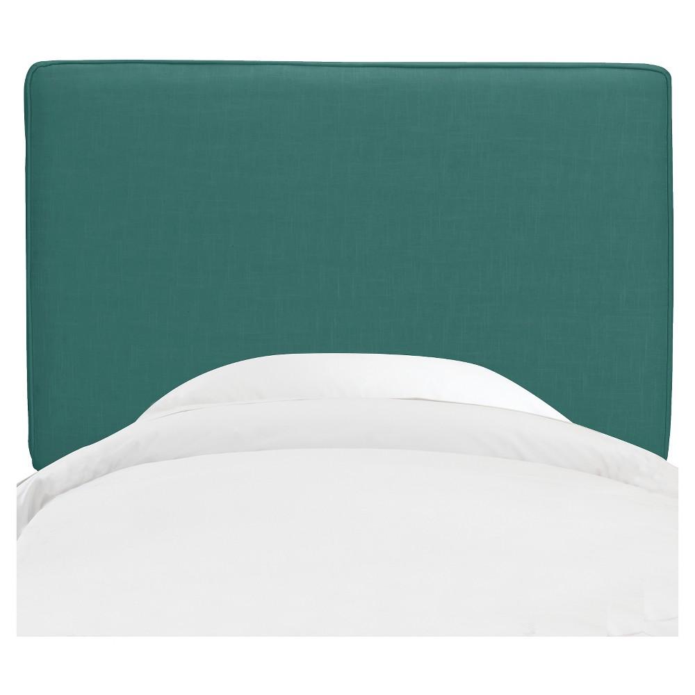 King Harper Box Seam Headboard Teal Linen - Cloth & Co.