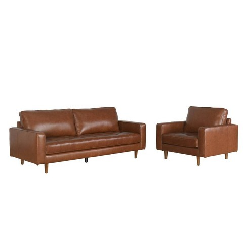2pc Calvin Mid Century Top Grain Leather Sofa & Armchair Set Camel -  Abbyson Living