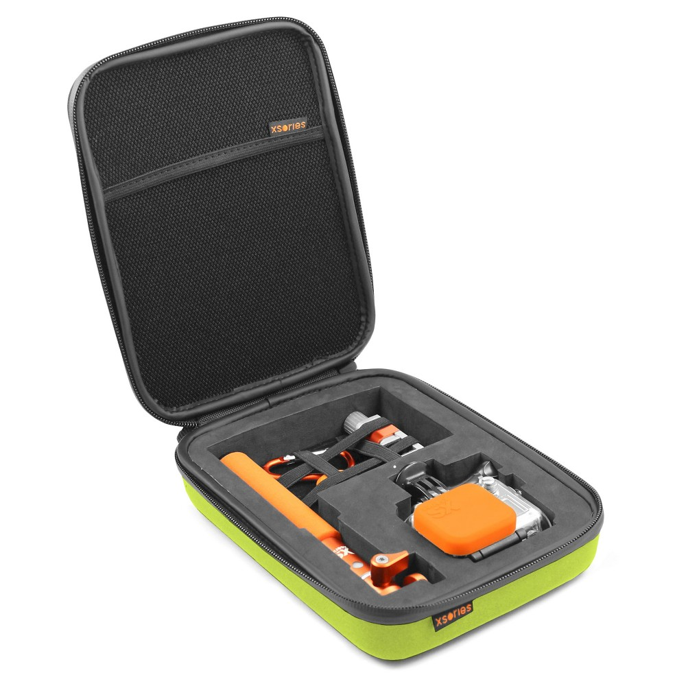 Xsories Small Capxule Soft Case With Pre-Cut Foam Inlay Compatible With All GoPro Camera Models - Lime Green, Lime Spritz